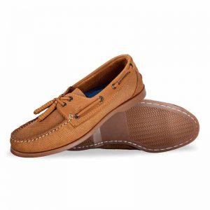 Zapato-de-Piel-Top-Sailer-Original-Estilo-Marinero-Color-Bronce-Grabado